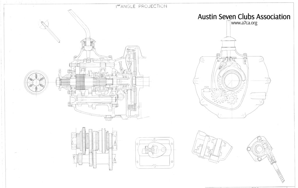 1st angle projection; gear box 4 speed Image