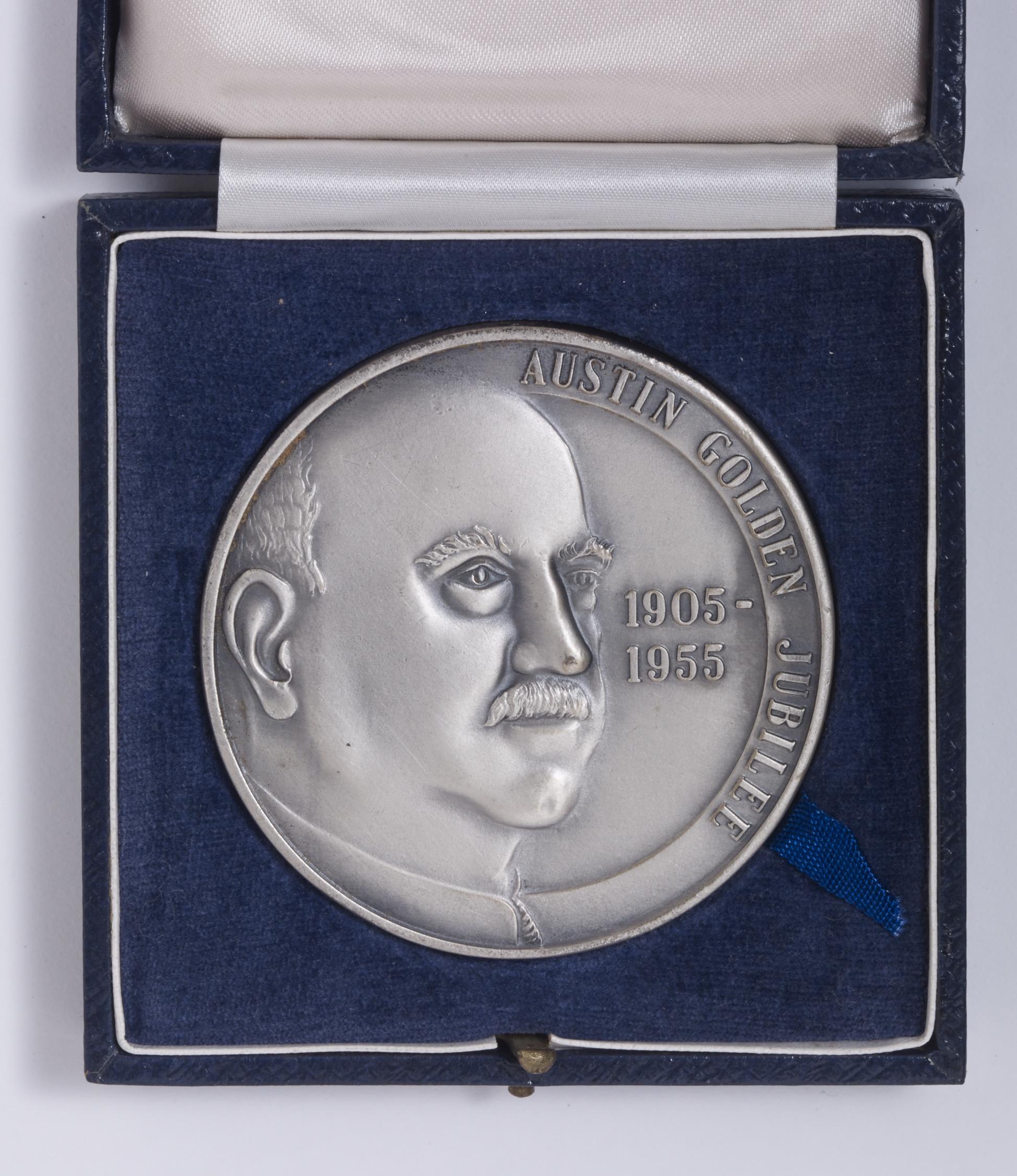 Austin Golden Jubilee 1905 - 1955  - Herbert Austin side of coin - box open Image