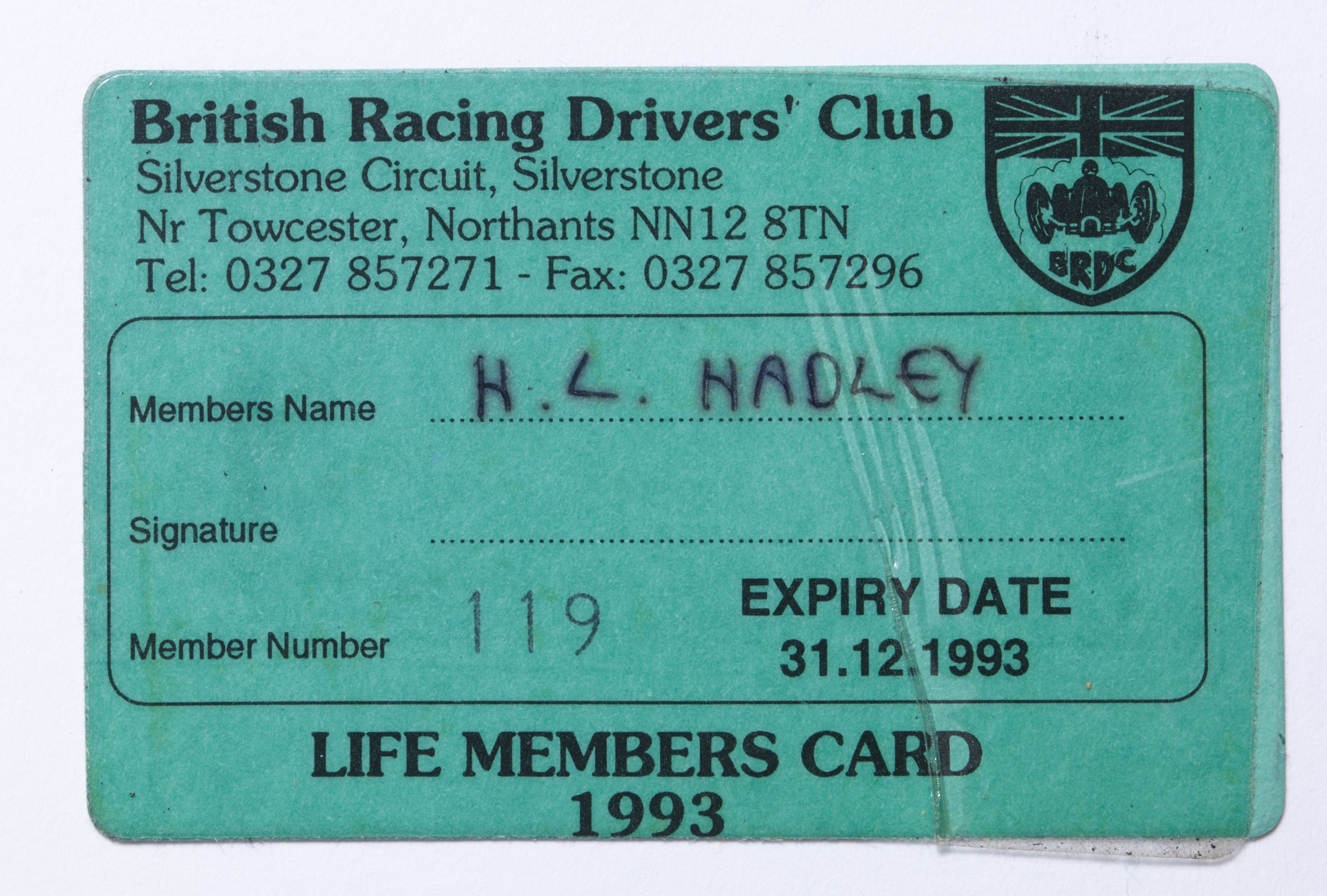 BRDC-Life members card Image