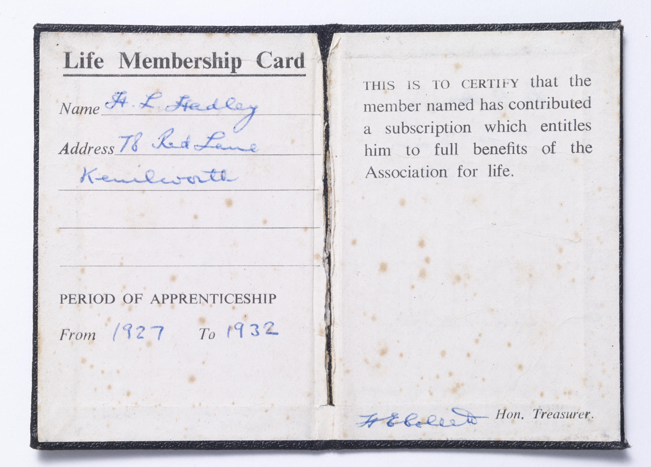 The Austin Ex-Apprentices Association - membership book - Bert Hadley - Inside spread Image