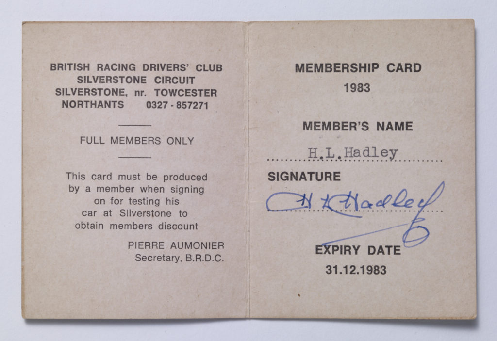 BRDC-Life members card - Inside - H.L. Hadley Image