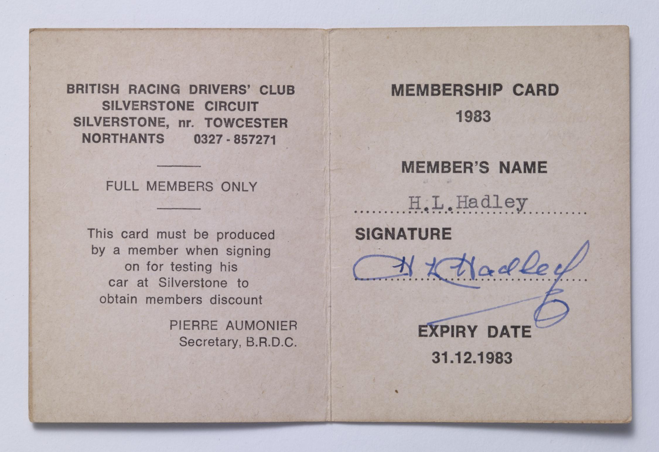 BRDC-Life members card - Inside - H.L. Hadley Image