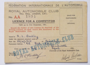 F.I.A. Competition Licence - H.L. Hadley Image
