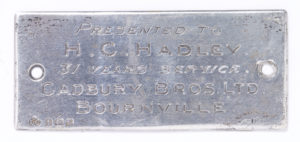 Plaque of gift to H.C. Hadley -31 years of service - Cadbury Bros Ltd Bournville Image